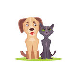 Cartoon  dog and cat on white background. Friends illustration. Royalty Free Stock Photo