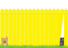 Cartoon dog and cat on the yellow fence Royalty Free Stock Photography