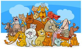 Cartoon dog and cats characters. Cartoon Vector Illustration of Funny Dogs and Cats Characters Group Stock Photos
