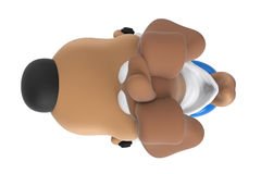 Cartoon dog character scooter, top view. Cartoon dog character on blue scooter, top view. 3D rendering Stock Images