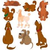 Cartoon dog character set stock illustration