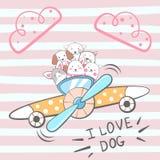 Cartoon dog characters. Airplane illustration. vector illustration
