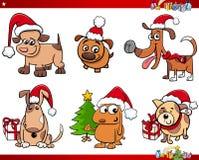 Cartoon dog characters on Christmas set Stock Photos