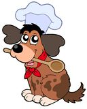 Cartoon dog chef with spoon Royalty Free Stock Images
