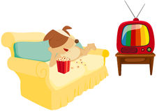 Cartoon Dog Chilling With Popcorn And Television Stock Photos