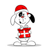Cartoon Dog with Christmas Gift Box. A cartoon dog wearing a Christmas hat and holding a gift box Royalty Free Stock Images