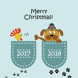 A cartoon dog with a cock. Vector illustration. Christmas card. A cartoon dog with a cock. Vector illustration vector illustration