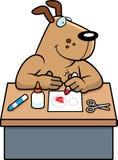 Cartoon Dog Crafts. A cartoon illustration of a dog doing arts and crafts stock illustration