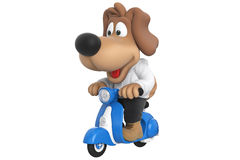 Cartoon dog cute character. On blue scooter, with large hanging ears. 3D rendering Royalty Free Stock Photos
