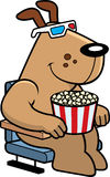 Cartoon Dog 3D Movies. A cartoon illustration of a dog watching a 3D movie Royalty Free Stock Images