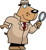 Cartoon Dog Detective. A cartoon illustration of a dog detective with a magnifying glass Stock Photos