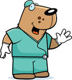 Cartoon Dog Doctor. A cartoon illustration of an dog doctor in scrubs Royalty Free Stock Photography