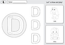 Cartoon dog and doll. Alphabet tracing worksheet: writing A-Z an Stock Images