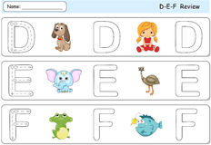 Cartoon dog, doll, elephant, emu, frog and fish. Alphabet tracin. G worksheet. D-E-F Review Stock Image