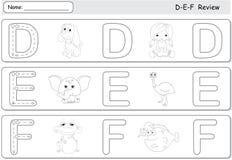 Cartoon dog, doll, elephant, emu, frog and fish. Alphabet tracin Royalty Free Stock Photo
