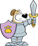 Cartoon dog dressed as a knight. Stock Image