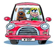 Cartoon dog driving woman in car. Cartoon caricature of dog driving woman in red car with license plates reading woof Stock Images