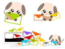 Cartoon dog with e-mail illustration Royalty Free Stock Photography