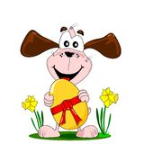 Cartoon dog and Easter egg Royalty Free Stock Photo