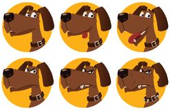Cartoon dog emotions. Character design Stock Photo