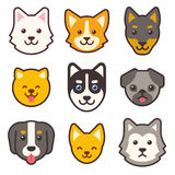 Cartoon dog faces set. Different breeds of dogs cute flat icons Royalty Free Stock Photo