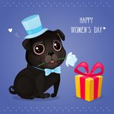 Greeting card for Women`s Day with a cute black pug. Cartoon dog with flower and gift box. Vector illustration for a postcard or a poster. Text `Happy Women`s Stock Illustration
