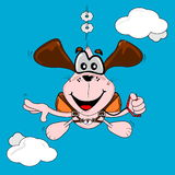A cartoon dog freefall parachuting Stock Photos