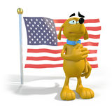 Cartoon dog in front of American flag. 3d rendering of cartoon dog standing in front of an American flag Royalty Free Stock Images