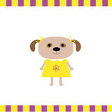 Cartoon dog girl card Royalty Free Stock Images
