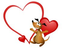 Cartoon Dog Heart Valentine Stock Photos
