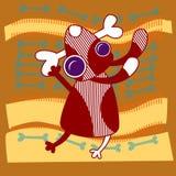 Cartoon Dog Hold Bone Royalty Free Stock Images