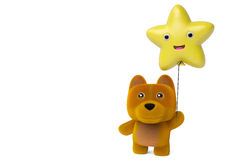 A cartoon dog holding a balloon stars,3D illustration. A cartoon dog holding a balloon stars 3D illustration Stock Photography