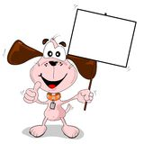 Cartoon dog holding a blank advertising placard Stock Photos