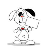 A cartoon dog holding a blank placard Royalty Free Stock Photos