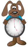 Cartoon dog holding clock. With time showing one minute to five - vector vector illustration