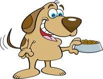 Cartoon dog holding a dog food dish. Royalty Free Stock Photos