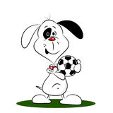 A cartoon dog holding a football Royalty Free Stock Photo