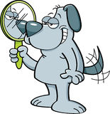 Cartoon dog holding a mirror. Cartoon illustration of a dog looking into a mirror Stock Photography