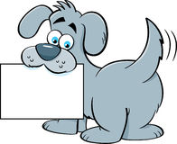Cartoon dog holding a sign. Royalty Free Stock Photography