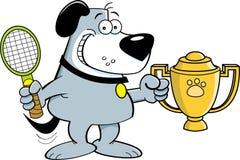 Cartoon dog holding a trophy. Stock Photos