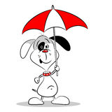 A cartoon dog holding an umbrella Royalty Free Stock Images