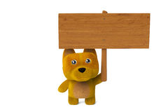 A cartoon dog holding a wooden sign,3D illustration. Royalty Free Stock Photos