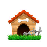 Cartoon dog house. Illustration of dog house with chain on green grass Stock Photos