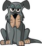 Cartoon Dog isolated illustration. Funny Gray Dog sitting; Cartoon illustration vector illustration