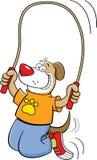 Cartoon dog jumping rope Royalty Free Stock Photo