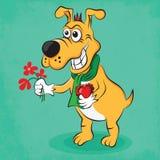 Cartoon dog in love Stock Photography