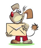 Cartoon dog with the mail envelope Stock Photography