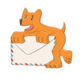 Cartoon dog mail icon Stock Photos