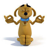Cartoon dog meditating. 3D rendering of a cute cartoon dog sitting and meditating Royalty Free Stock Images