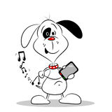 Cartoon Dog with Mobile Phone Royalty Free Stock Photos